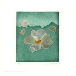 Iris Xilas Xanalatos 2, Greece, Flower in Turquoise, Hand made Silk Screen Print, 2011