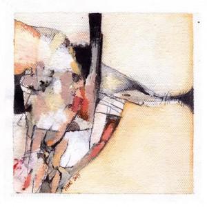 István Damó 3, Hungary, Solitude 3, Acrylic + Collage, 13 x 13 cm, 2015