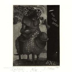 Ivan Mateev 3, Bulgaria, Ex Libris, Valentin Kandyov, Etching, Aquatint, 12,5 x 10 cm, 2014