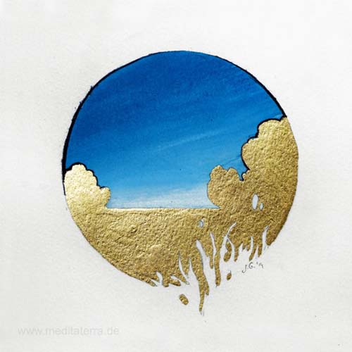 Jakub Godziszewski 1, Poland, Silence I, Mixed Media, Aquarell, Gilding, 11 x 10 cm, 2014