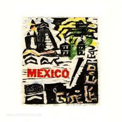 Jocelyne Benoit 2, Canada, Mexico, Color Woodcut + Typo, 9,5 x 10,5 cm, 2008