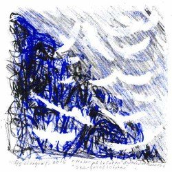 Kathie Pettersson 3, Sweden, Sea Gull of Lofoten, Lithographie, 14 x 14 cm, 2015