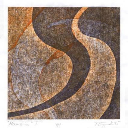 Manfred Egger 1, Austria, Moonshine I, Woodcut, 13 x 13 cm, 2015