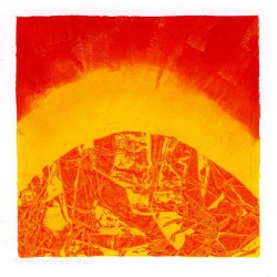 Nelly Arias 3, Argentina, Yellow and Red, Relief Printing, 13 x 13 cm, 2015