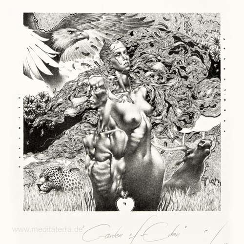 Petar Vladimirov Chinovsky 1, Bulgaria, Garden of Eden, Algraphy, 13 x 12,5 cm, 2014