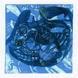 Therese Wilkins 2, Australia, Figurative in Blue, Lino Intaglio, 13 x 13 cm, 2015
