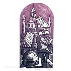 Victor Lipkin 3, Israel, Jerusalem's Roofs, Violett, Linocut, 17 x 9 cm, 2015