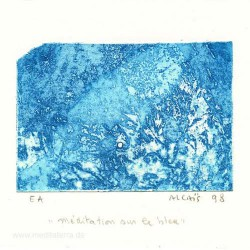 Yves Alcais 1, France, Meditation sur le Bleu, Aquatint, 9 x 13 cm, 1998