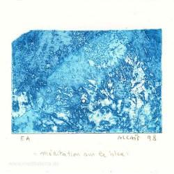 Yves Alcais 1, France, Meditation sur le Bleu, Aquatint, 9 x 13 cm, 1998