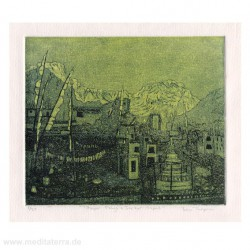 Bev Thompson 3, Canada, Prayer Flags Jarkot, Nepal Etching, Intaglio, Viscosity 2010