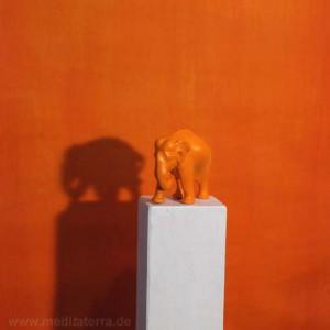 Elefant - Skulptur - Orange - Meditation