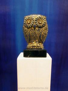 Eule bemalt - Skulptur meditaterra