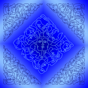 Köpfe, blau, Bild von Kurt Ries