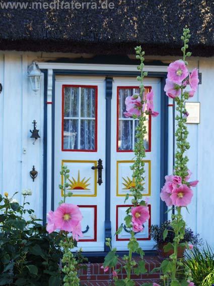 Holzhaustür mit blühenden Malven