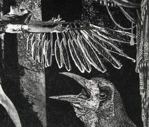 """Detail aus dem Bild """"Spread your wings and fly"""" der niederländischen Künstlerin Anke van Westerlaak"""