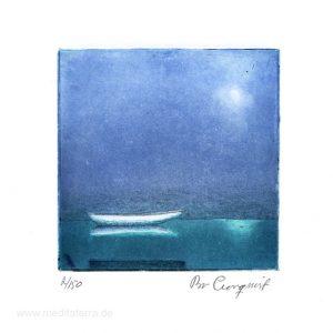 "Bo Cronqvist, 6, Sweden, ""Moonshine over the river"", 2016, Etching, 10 x 10 cm"