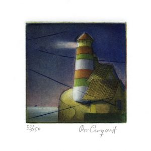 "Bo Cronqvist, 18, Sweden, ""Lighthouse"", 2013, Etching, 10 x 10 cm"