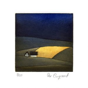 "Bo Cronqvist, 7, Sweden, ""The Yellow field"", 2016, Etching, 10 x 10 cm"