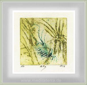 Aida Stolar 2 Israel, Green Contemplation Sugar, 2016, Lift Etching, 9 x 9 cm