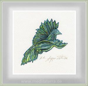 Ayşen Erte 1, Turkey, Green Blue World, 2016, Etching, Drypoint, Hand Coloured, 11,5 x 11,5 cm