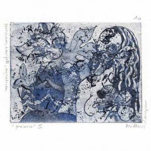 Monique Ariello 1, France, Resence I, 2016, Etching with Vernis Mou, Eau, Forte et Aquatinte, 13 x 10 cm