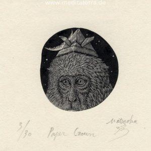 Atsushi Matsuoka 1, Japan, Paper Crown, 2016, Wood Engraving, 5.1 x 4.9 cm, 65
