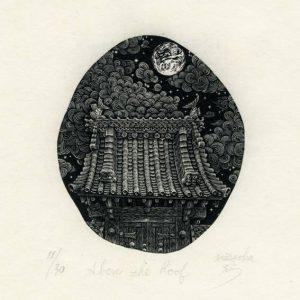 Atsushi Matsuoka, Japan, Above the Roof, 2010, Wood Engraving, 8.6 x 7.4 cm