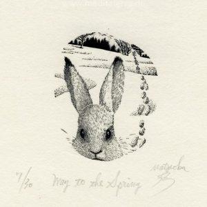 Atsushi Matsuoka 12, Japan, Way to the Spring, 2010, Wood Engraving, 5.5 x 4.5 cm