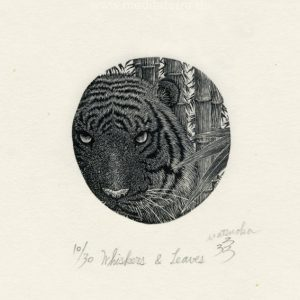 Atsushi Matsuoka 14, Japan, Whiskers & Leaves, 2009, Wood Engraving, 4.9 x 4.7 cm, 65