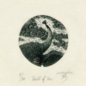 Atsushi Matsuoka 15, Japan, Field of Fur, 2008, Wood Engraving, 5.0 x 4.8 cm, 60