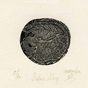 Atsushi Matsuoka 16, Japan, Before Sleep, 2007, Wood Engraving, 4.8 x 5.1 cm, 50