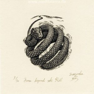 Atsushi Matsuoka 5, Japan, From beyond the Hill, 2012, Wood Engraving, 7.1 x 6.2 cm, 90