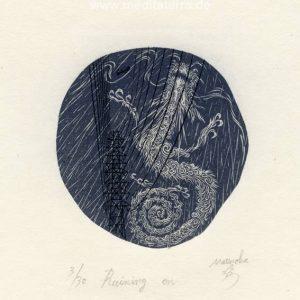 Atsushi Matsuoka 6, Japan, Raining on , 2013, Wood Engraving, 7.8 x 7.3 cm, 73