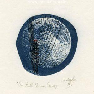 Atsushi Matsuoka 7, Japan, Full Moon Coming, 2012, Wood Engraving, 7.5 x 7.5 cm, 73
