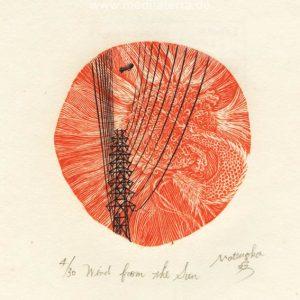 Atsushi Matsuoka 8, Japan, Wind from the Sun, 2012, Wood Engraving, 7.6 x 7.3 cm, 73