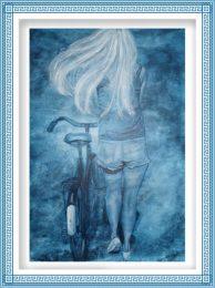 Britt Salver 2, Denmark, Windy Cycling , 2017, painting, 80 x 60 cm
