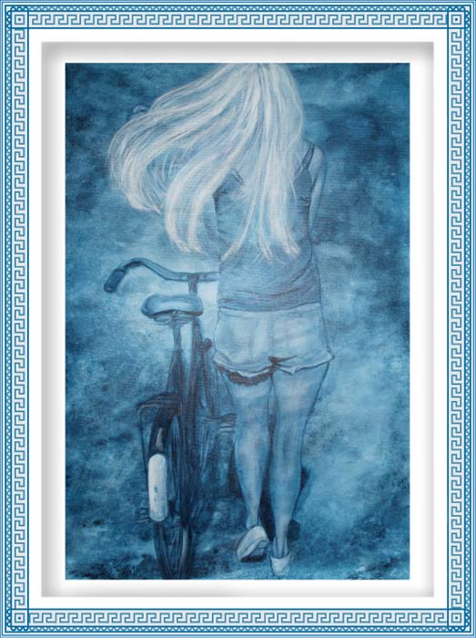 Britt Salver 2, Denmark, Windy Cycling , 2017, painting, 80 x 60 cm