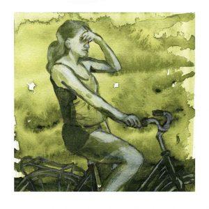 Britt Salver 3, Denmark, Green Mood Cycling, 2016, Acrylic on Watercolour Paper, 13 x 13 cm