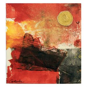 Catharina Johansson Berg 2, Sweden, The Letter in Red, 2016, Mixed Media, 13 x 13 cm
