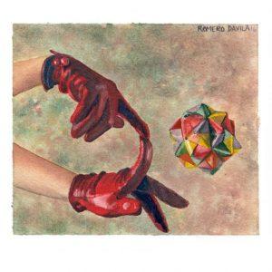 Dolores Romero Dávila 2, México, Red Gloves, 2016, Aquarell, 13 x 15