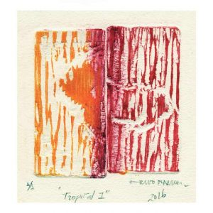 Evelio Akerm 1, Spain, Tropical I, 2016, Woodcut, 18 x 18 cm