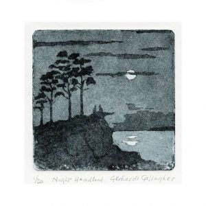 Gerhardt Gallagher 3, Ireland, Night Headland, 2016, Aquatint Etching, 9 x 9 cm