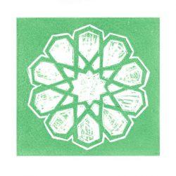 Guler Yildiz 1, Turkey, Green Star, 2016, Linocut, 12 x 12 cm