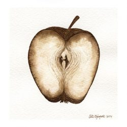 Iida Ojanpera 2, Finland, Apple II, 2014, Ink and Gold Metal Leaf on Paper, 18 x 14,5 cm