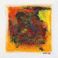 Iris Genevieve Lahens 2, Haiti, Energy, 2016, Acrylic on Paper, 13 x 13 cm
