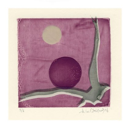 Iris Xilas Xanalatos 3, Greece, Bird & Purple, 2014, Handmade Silk Screen Print, 9, 5 x 9, 5 cm