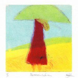 Katharina Bossmann 3, USA, Sonnenschirm, 2016, Monotype, Chine Colle, 13 x 13 cm