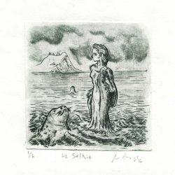 Luis Arias, Costa Rica, The Selkie, 2016, Engraving, 10 x 11 cm