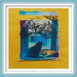 Mady Maerien 3, Belgium, Cats Life 1, 2015, Linocut + Collage, 40 x 50 cm