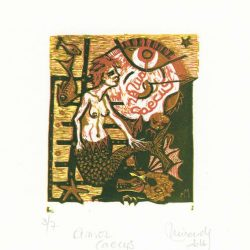 Marcela Miranda 2, Italia, Amor Caecus, Xilografia 4 Colori, 10,5 x 9 cm